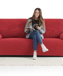 Napínací potah na sedačku - dvojkřeslo Creta červený 130-180 cm červená  - potahy od Bonatex