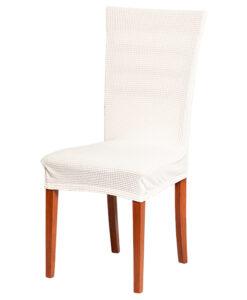 Potah na židli manšestr krémový  - Natahovací elastický potah