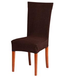 Potah na židli manšestr hnědý  - Natahovací elastický potah