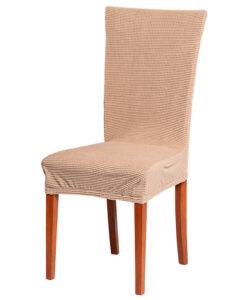 Potah na židli manšestr capuccino  - Natahovací elastický potah